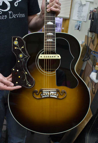 Gibson SJ-200 with new pickguard and showing old