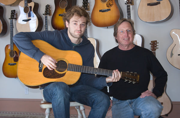 Chris Thile and Jim Baggett at Mass Street Music Martin D-28