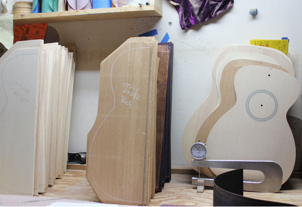 Woods matched and awaiting build at Collings Guitars