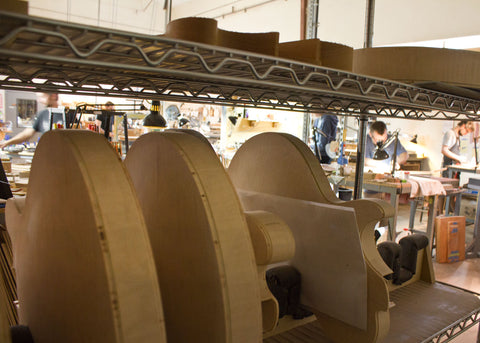 Collings electric guitars at the facility, awaiting finishes