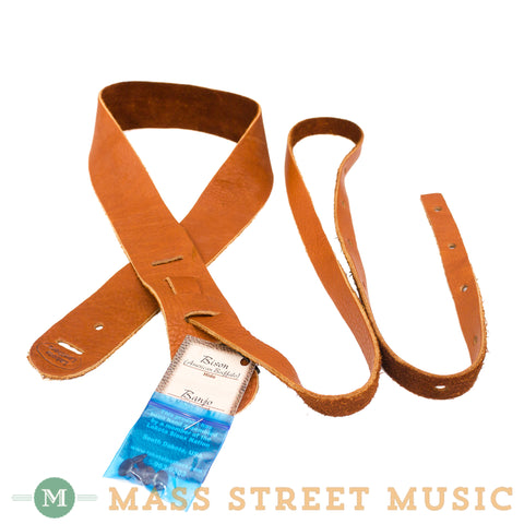 "Lakota Leathers - 2"" Bison Banjo Cradle Strap - Tobacco"