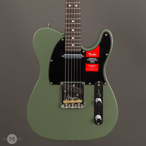 Fender Electric Guitars - American Professional Telecaster Solid Rosewood Neck Limited Edition - Antique Olive - Front Close