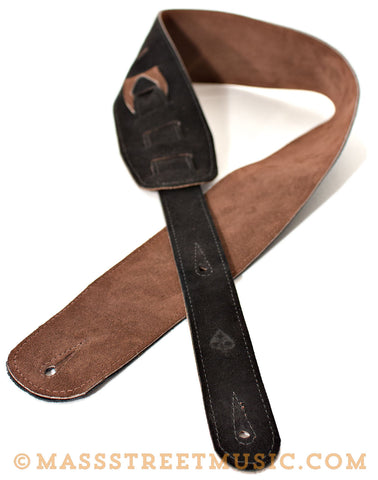 Leather Aces Suede Guitar Strap Black/Chocolate
