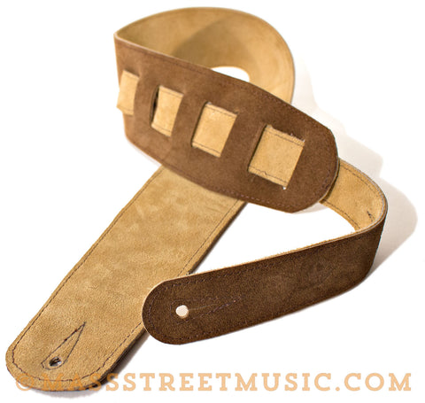 Leather Aces - Suede Guitar Strap Brown/Sand
