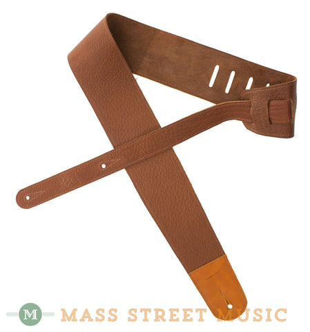 Leather Aces Guitar Strap, Chestnut - folded front
