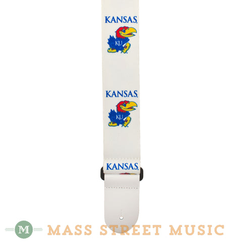 College Guitars KU Jayhawk Seatbelt Guitar Strap - close