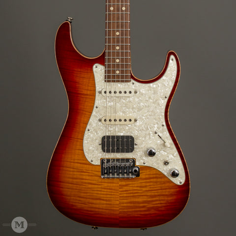 Tom Anderson Electric Guitars - 2014 Drop Top Classic - Dark Cherry Burst - Used - Front Close