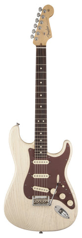 Fender American Strat Rustic Ash in White - front