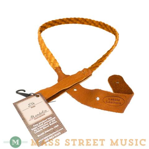 Lakota Leathers - Flat Braid Elk Mandolin Strap - Tan/Tobacco