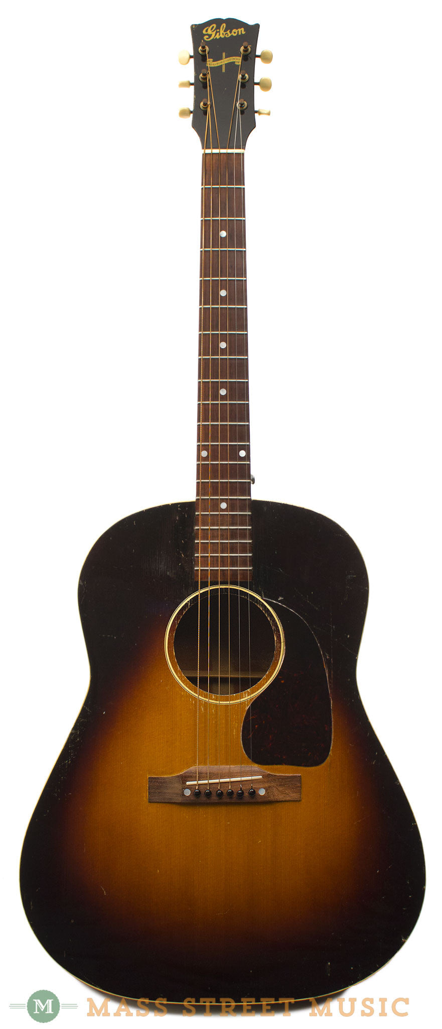 gibson j 45 banner 1943 acoustic guitar with non original case mass street music store. Black Bedroom Furniture Sets. Home Design Ideas