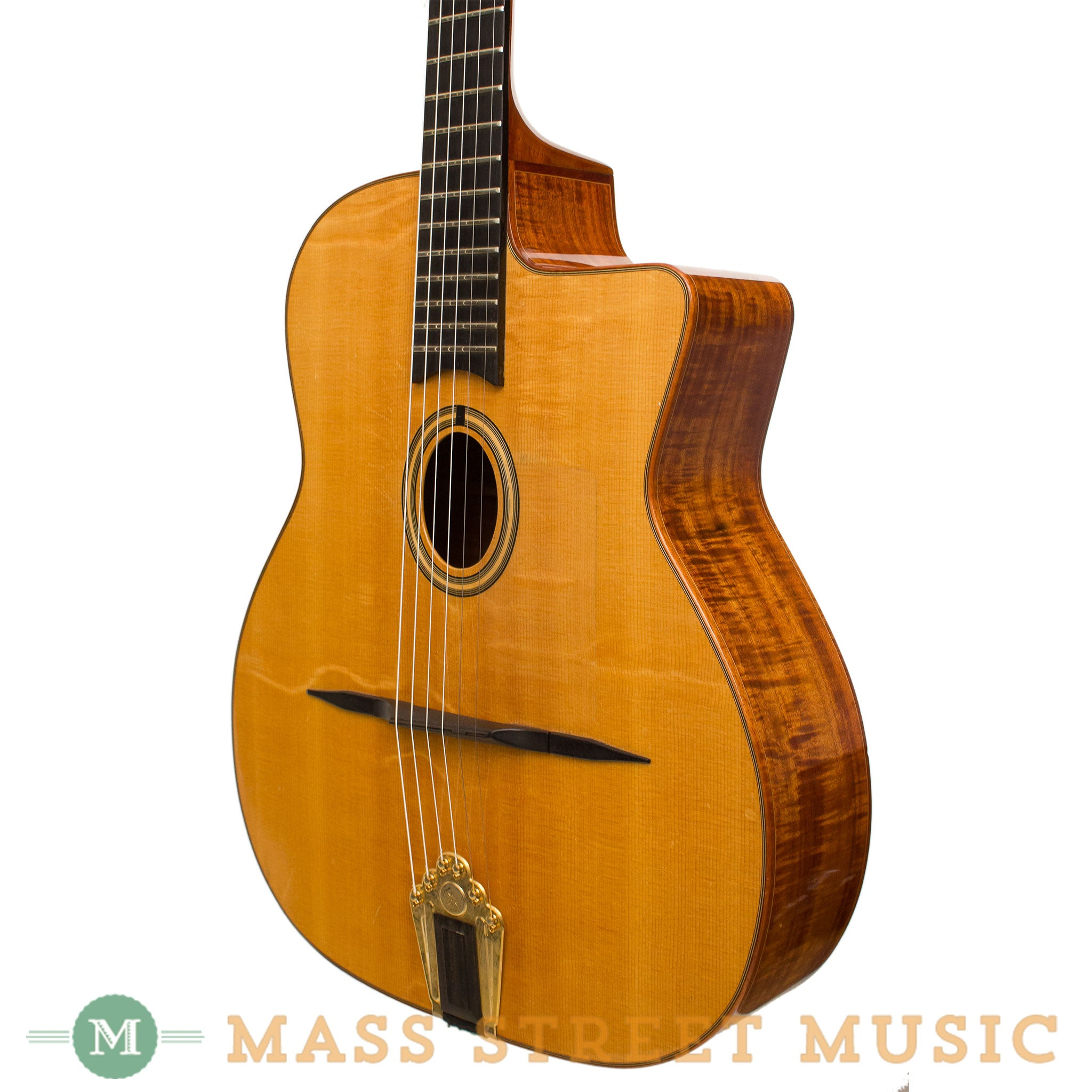 shelley park guitars 1998 gypsy jazz guitar with koa back sides mass street music store. Black Bedroom Furniture Sets. Home Design Ideas