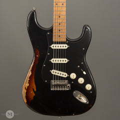 Tom Anderson Electric Guitars - Icon Classic - Black over Tobacco Distress Lvl 3 - Front Close
