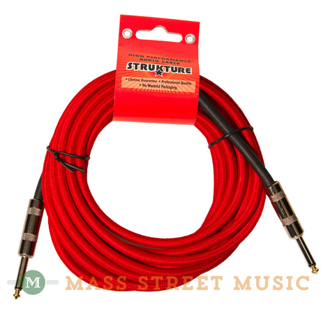 Strukture SC186RD 18.6 foot Instrument Cable, Woven Red - front
