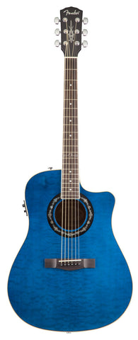 Fender T-Bucket 300CE Transparent Blue Acoustic Guitar - front stock