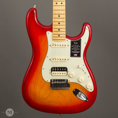 Fender Guitars - American Ultra HSS Stratocaster - Plasma Red Burst - Front Close