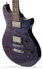 Terry McInturff custom guitar front angle of guitar with trans blue finish