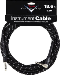 Fender 18.6' Right Angle Black Tweed Instrument Cable