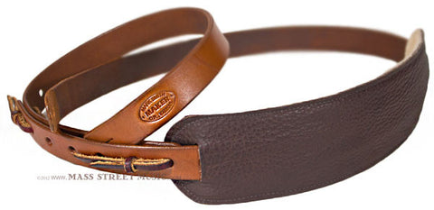 Leather Aces vintage style guitar strap leather