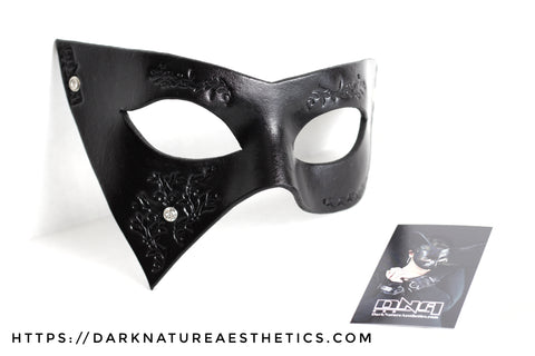 """Deep Abyss"" Lucia Leather Mask with Swarovski Crystals"