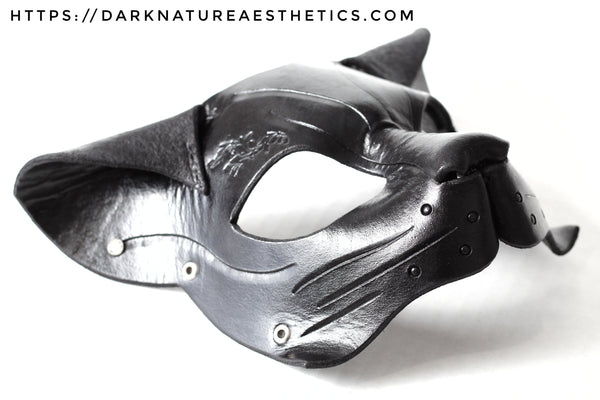 """Deep Abyss"" Calista Kitty Cat Leather Mask with Swarovski Crystals"