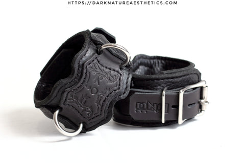 """Carnal Sins"" BLACKout Locking Bondage Leather Wrist Cuffs"