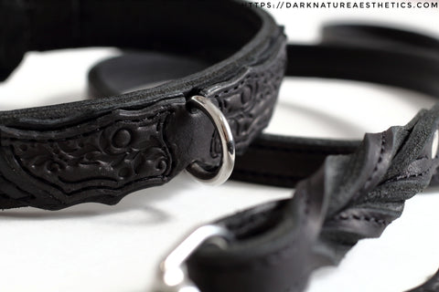 """Carnal Sins"" BLACKout Locking Bondage Leather Collar"