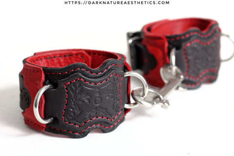 """Carnal Sins"" Bloody Locking Bondage Leather Wrist Cuffs"