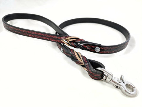 Red/Black BDSM Tooled Leather Bondage Leash