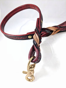 """Dirty Red"" Solid Brass Leather Bondage Leash"