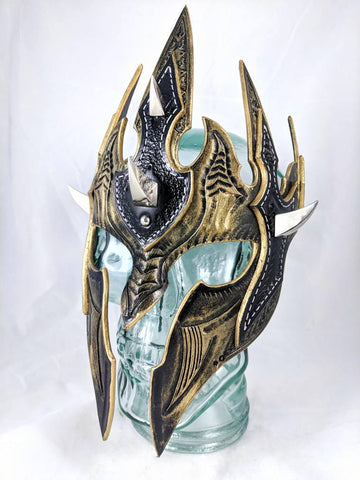Aggressive Gold Elven spiked Leather Mask