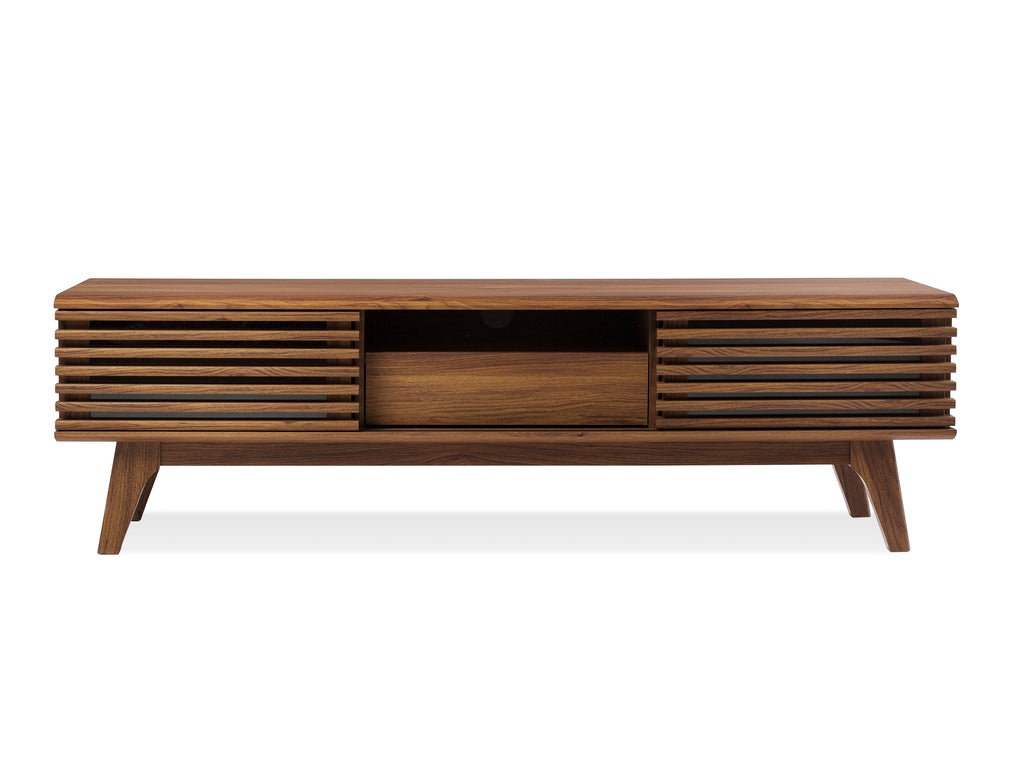Walnut Slatted Console - The Everset