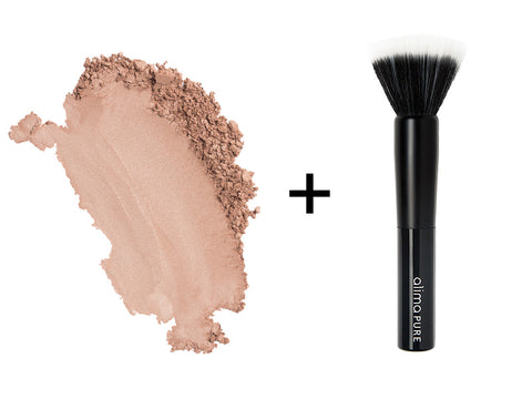 Alima Pure Radiant Finishing Powder in Augusta and the Soft Focus Brush