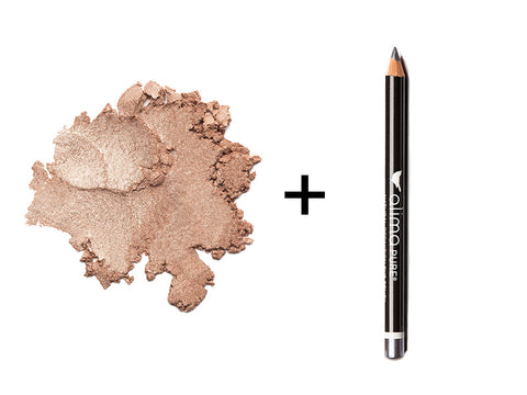 Alima Pure Luminous Shimmer Eyeshadow in Chai and Natural Definition Eye Pencil in Slate