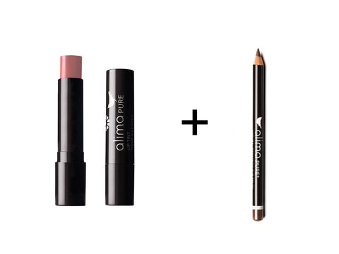 Alima Pure Lip Tint in Petal and Natural Definition Eye Pencil in Patina