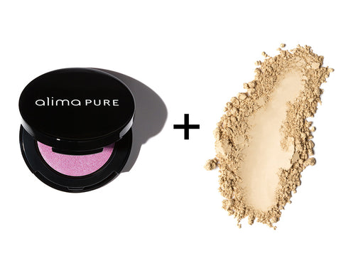 Alima Pure Pressed Eyeshadow in Siren and Satin Finishing Powder
