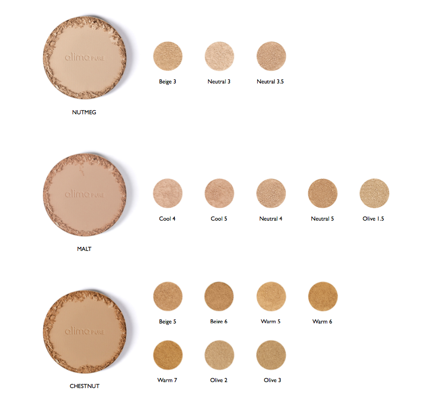 Color conversion chart: satin matte foundation compared to pressed foundation with Rosehip Antioxidant complex – Nutmeg, Malt, and Chestnut