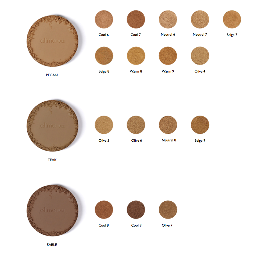 Color conversion chart: satin matte foundation compared to pressed foundation with Rosehip Antioxidant complex – Pecan, Teak and Sable