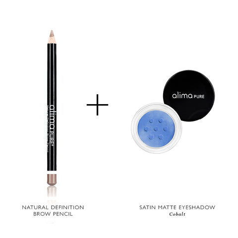 Alima Pure Natural Definition Brow Pencil and Satin Matte Eyeshadow in Cobalt