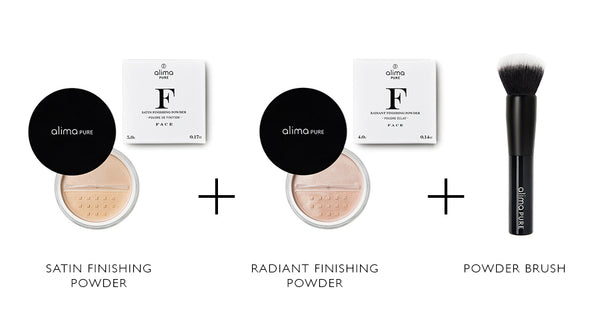 Alima Pure Satin Finishing Powder, Radiant Finishing Powder, Powder Brush