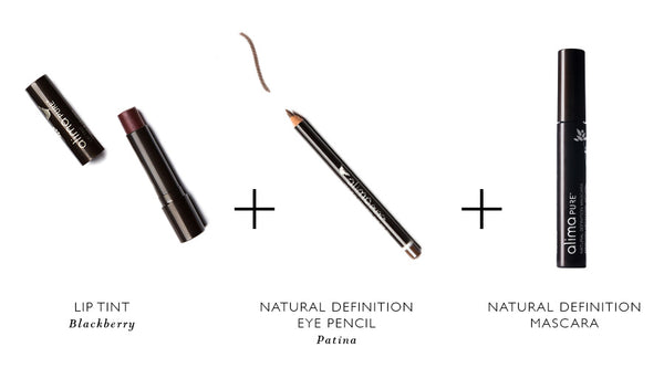 Alima Pure Lip Tint, Natural Definition Eye Pencil, and Natural Definition Mascara