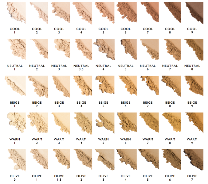 Foundation Makeup Swatch Chart all