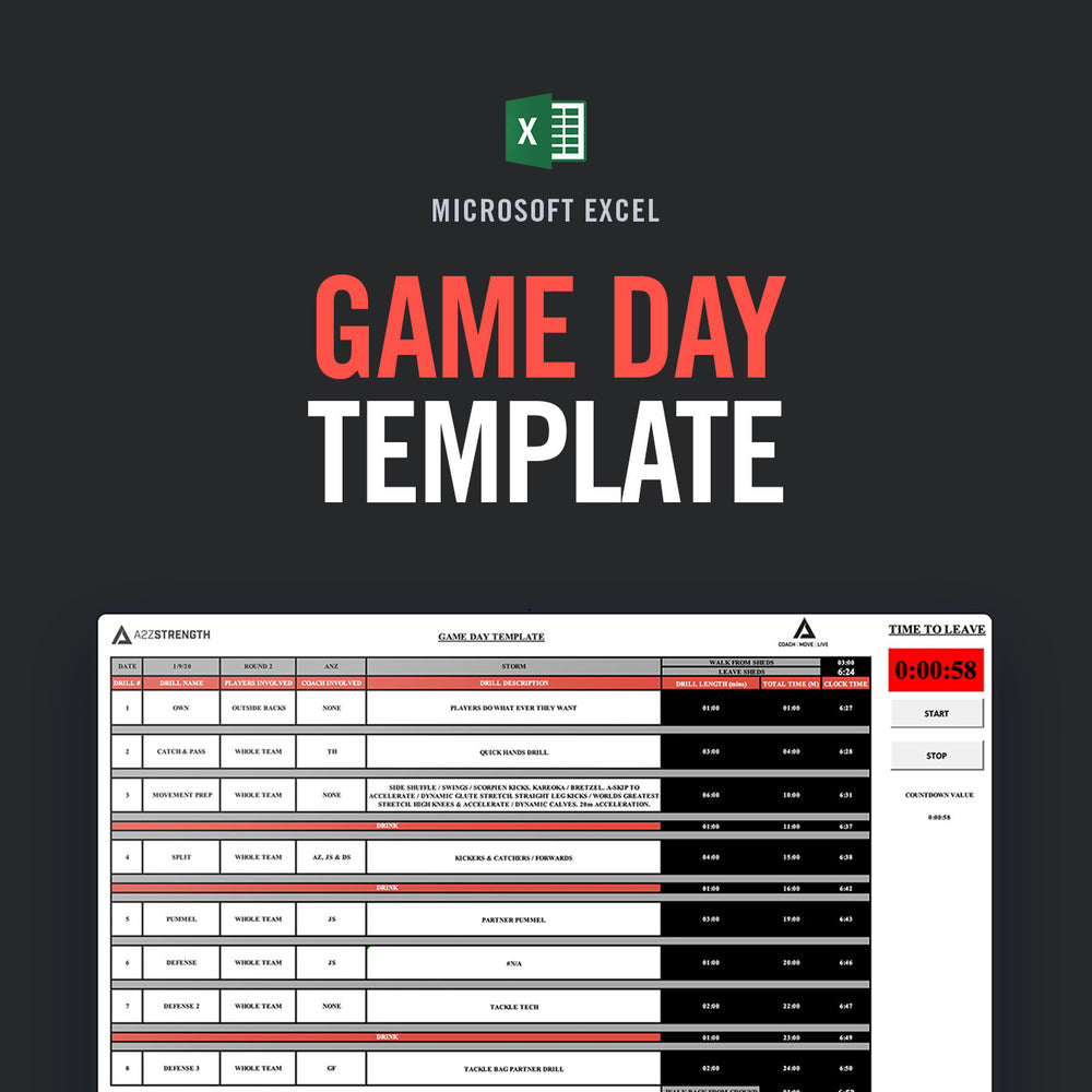 Game Day Template (JUST RELEASED)