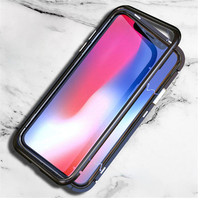 360 Magnetic Adsorption Phone Case For IPhone X XS Max +Tempered Glass Back Cover For IPhone XS Max X Hard Magnet Cases XS X