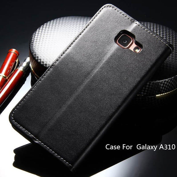 A310 For Samsung A3 (2016) Vintage Leather Case Wallet Stand Luxury Phone Cover Bag Flip With Card Slot Cases Black SM A310