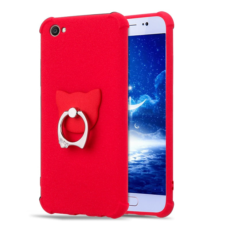 wholesale dealer 8512d 3ba57 ALIVO Air Cushion Silicon Case For Oppo F1s Case With Ring Sandstone  Frosted Scrub Matte Full Protector Fitted Case For Oppo F1s