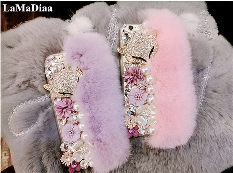 Case For Samsung Galaxy J5 J6 J7 J8 2018 A6 A8 A7 A5 A3 Cute Soft Fluffy Rabbit Fur Hair Bling Diamond TPU Protective Phon