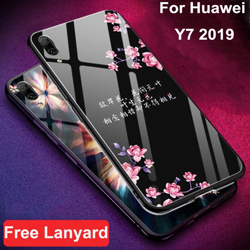 Coque For Huawei Y7 2019 Case Coque Luxury Tempered Glass + Soft Edge Cover  5 5'' For Huawei Y 7 Case HuaweiY7 Phone Cases Shell