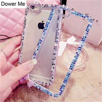 Dower Me Fashion DIY Diamond Cute Bowknot Transparent Shell Phone Case Cover For IPhone X 8 7 6 6S Plus 5 5S SE 5C 4 4S