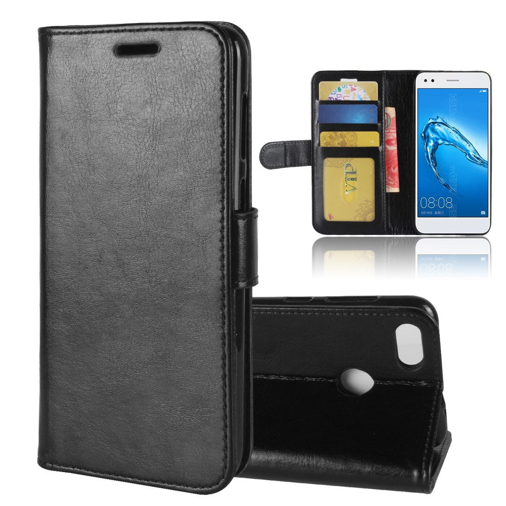ENJOY7 Case For Huawei Enjoy 7 Cases Wallet Card Stent Book Style Flip Leather Covers Protect Cover Black For Huawei Enjoy7