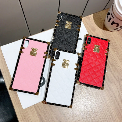 Elegant Fashion Rivet Square Box Lattice Leather Case Cover For IPhone XS Max XR X 8 7 6S Plus Samsung Galaxy NOTE 9 8 S9/8 Plus